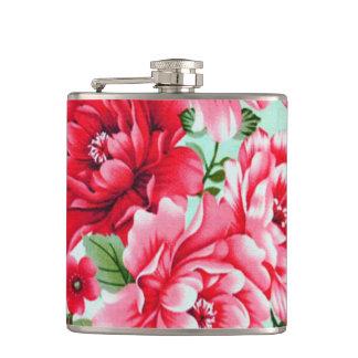 Vintage Chic Red Pink Floral Flask