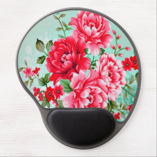 Vintage Chic Red Pink Floral Gel Mouse Pad