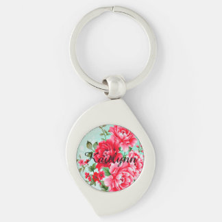 Vintage Chic Red Pink Floral Personalized Keychain