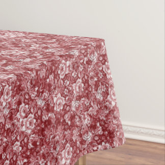 Vintage Chic Red White Classy Toile Floral Pattern Tablecloth