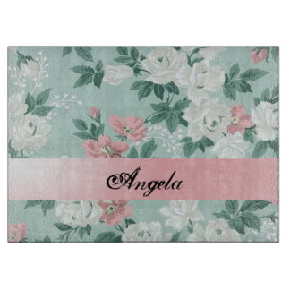 Vintage Chic Shabby Flowers-Personalized Cutting Board