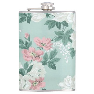Vintage Chic Shabby Flowers-Personalized Hip Flask