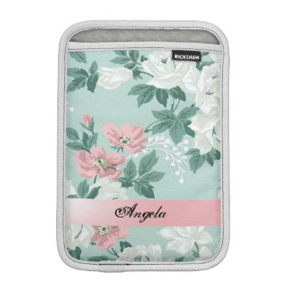 Vintage Chic Shabby Flowers-Personalized iPad Mini Sleeve
