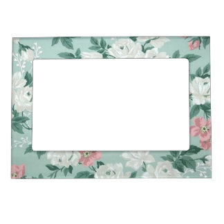 Vintage Chic Shabby Flowers-Personalized Magnetic Frame
