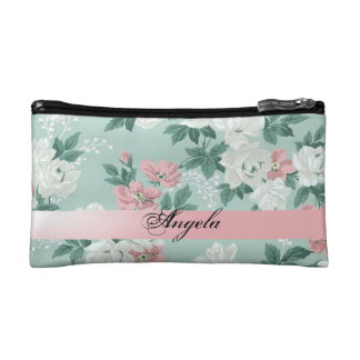 Vintage Chic Shabby Flowers-Personalized Makeup Bag