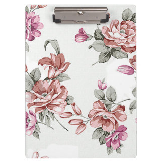 Vintage Chic  Shabby Girly Flowers Clipboard