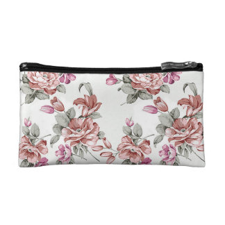 Vintage Chic  Shabby Girly Flowers Cosmetic Bag