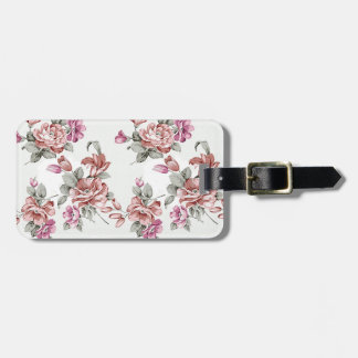 Vintage Chic  Shabby Girly Flowers Luggage Tag