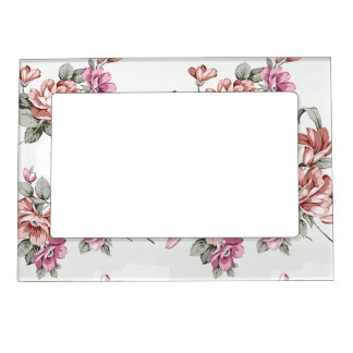Vintage Chic  Shabby Girly Flowers Magnetic Picture Frame