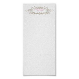 Vintage Chic Wedding Seating Chart 4x9 Poster