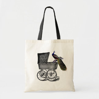 Vintage Chic Whimsical Peacock baby Carriage Budget Tote Bag