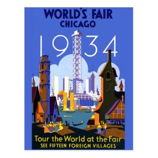 Vintage Chicago 1934 World's Fair Poster Postcard