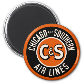 Vintage Chicago and Southern Air Lines 6 Cm Round Magnet