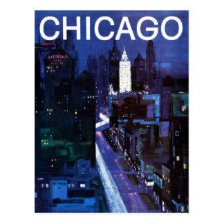 Vintage Chicago City Streets Travel Postcard