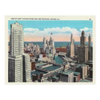 Vintage Chicago Loop Skyline Postcard