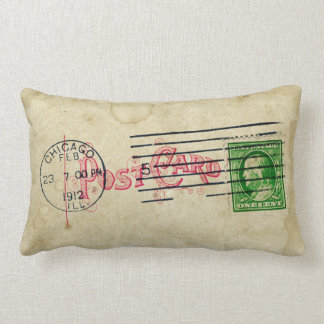 Vintage Chicago Postcard Retro Stamp Collage Lumbar Pillow