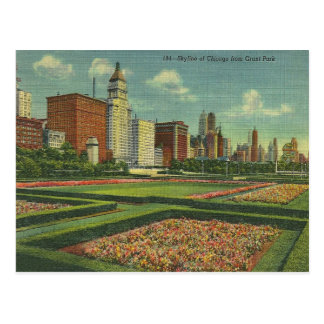 Vintage Chicago Skyline Grant Park Illinois Postcard