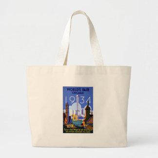 Vintage Chicago World's Fair 1934 Ad Jumbo Tote Bag