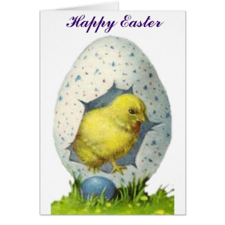 Vintage Chick And Easter Egg Card