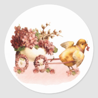 Vintage Chick Easter Classic Round Sticker