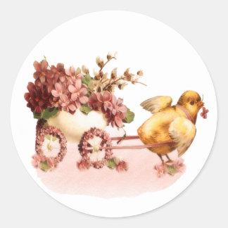 Vintage Chick Easter Round Sticker