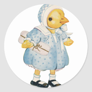 Vintage Chick in a Dress Classic Round Sticker