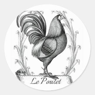 vintage chicken design typography classic round sticker