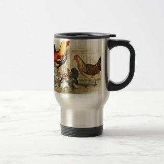 Vintage Chicken family illustration Travel Mug