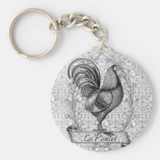 Vintage Chicken Illustration Key Ring