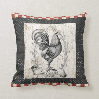 Vintage Chicken Le Poulet Throw Pillow