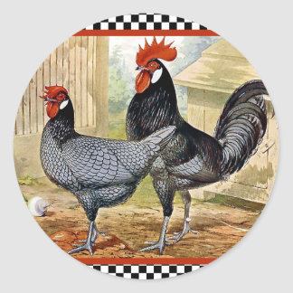 Vintage Chicken Rooster Classic Round Sticker