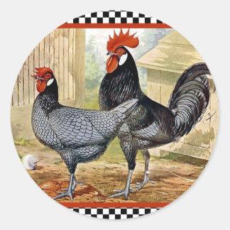 Vintage Chicken Rooster Round Sticker