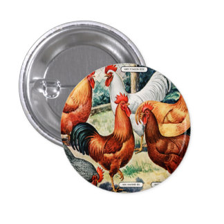Vintage Chickens Roosters For Sale Catalog Ad Pinback Button