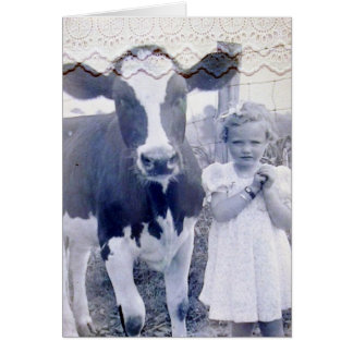Vintage Child and Cow Card