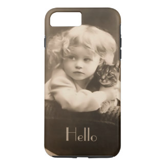 Vintage Child and Kitty Sepia iPhone 7 Plus Case