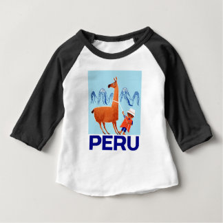 Vintage Child and Llama Peru Travel Poster Baby T-Shirt