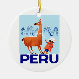Vintage Child and Llama Peru Travel Poster Ceramic Ornament