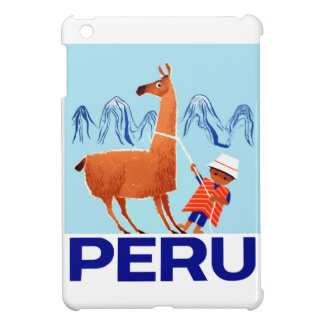 Vintage Child and Llama Peru Travel Poster iPad Mini Cases