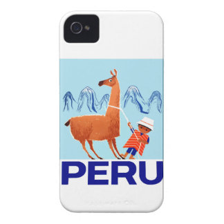 Vintage Child and Llama Peru Travel Poster iPhone 4 Cover