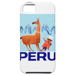 Vintage Child and Llama Peru Travel Poster iPhone 5 Covers