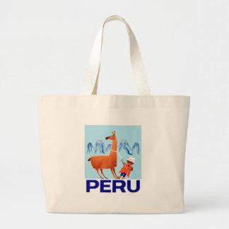 Vintage Child and Llama Peru Travel Poster Large Tote Bag