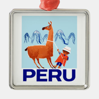 Vintage Child and Llama Peru Travel Poster Metal Ornament