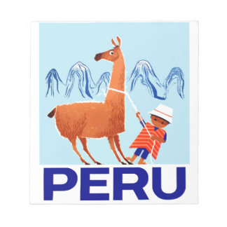 Vintage Child and Llama Peru Travel Poster Notepad