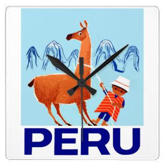 Vintage Child and Llama Peru Travel Poster Square Wall Clock