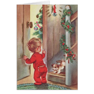 Vintage Child and Puppy Christmas Themed Card