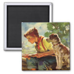 Vintage Child, Boy Fishing with His Pet Dog Mutt Magnets