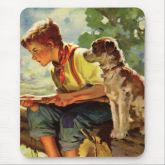 Vintage Child, Boy Fishing with His Pet Dog Mutt Mouse Pad