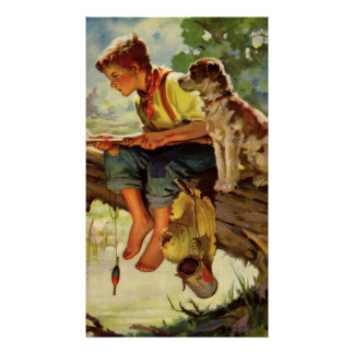 Vintage Child, Boy Fishing with His Pet Dog Mutt Poster