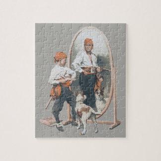 Vintage Child, Boy Pirate, Dog, Mirror, Buccaneer Jigsaw Puzzle