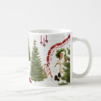 Vintage Child & Bulldog Wishes For Merry Christmas Mugs